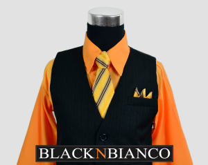 Boys Pinstripe Vest Suit Orange Shirt