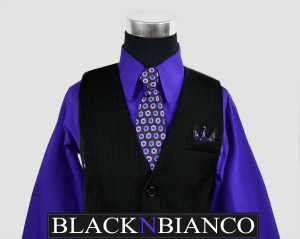 Boys Vest suit pinstriped with a purple shirt