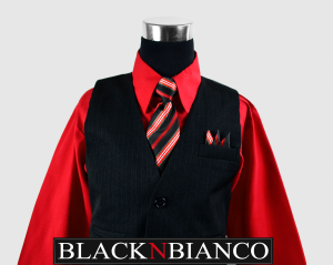 Boys Suit Vest Pinstripe with a red shirt