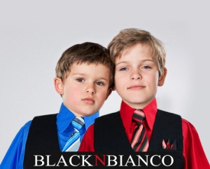 Portrait of two boys (4-5, 6-7), studio shot