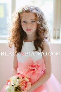 Flower Girl Dress in coral and white