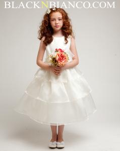 Tripled Layered flower girl dress in ivory