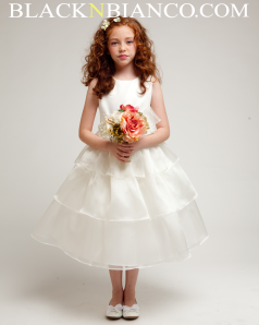 Tripled Layered flower girl dress in ivory