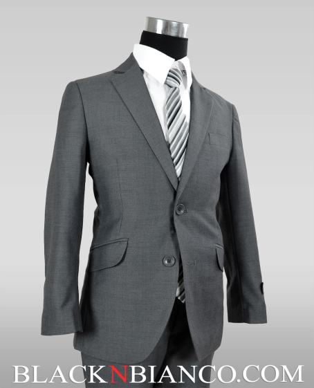 Boys Suits Gray Textured Slim fit