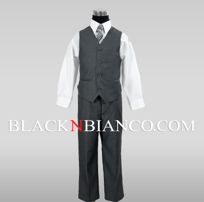 Boys Textured Gray Vest Suit