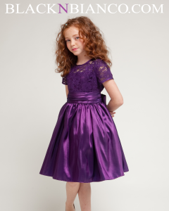Purple lace dress tea length
