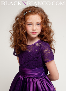 Vibrant purple laced trim dress for kids