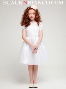 White lace trimed sleeve flower girl dress