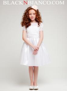 White lace trimed sleeve flower girl dress