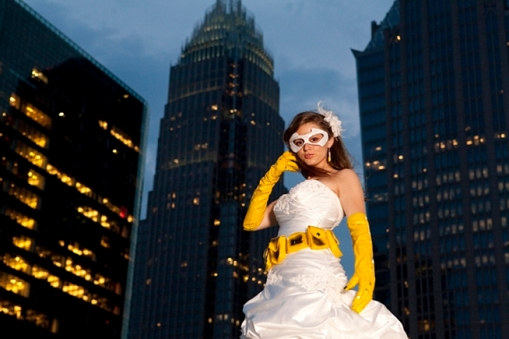 Bride in batgirl wedding attire