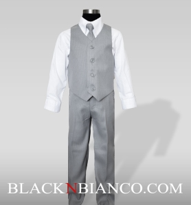 Boys Light Gray Vest Suit