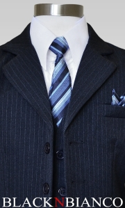 Boys Navy Suit Close up