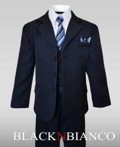 Boys Navy Suit by Black n Bianco