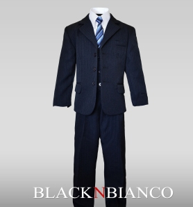 Boys Navy three Piece Suit Pinstripe