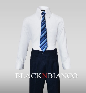 Boys Formal White Dress Shirt with Blue Tie