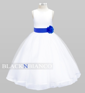 Black N Bianco Flower Girl Dress with Royal Blue Sash and Flower