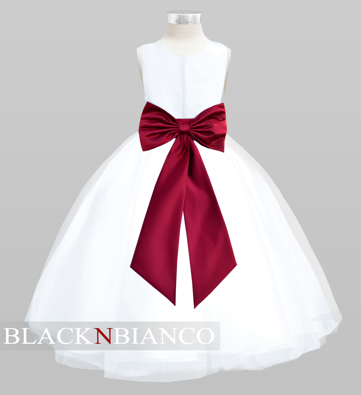 White Tulle Flower Girl Dress with colored sash bow and flower