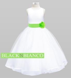 Lime Sash Flower GIrl Dress