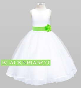 Lime Sash Flower GIrl Dress