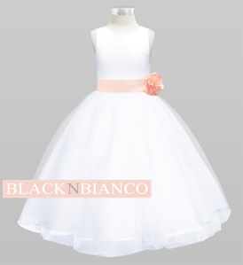Peach Sash and Bow Flower Dress for Kids