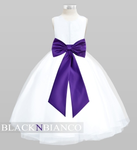 White Flower Girl Dress with a Purple Bow