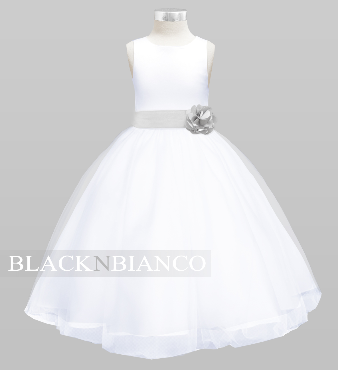 Black flower girl dresses with pink sash