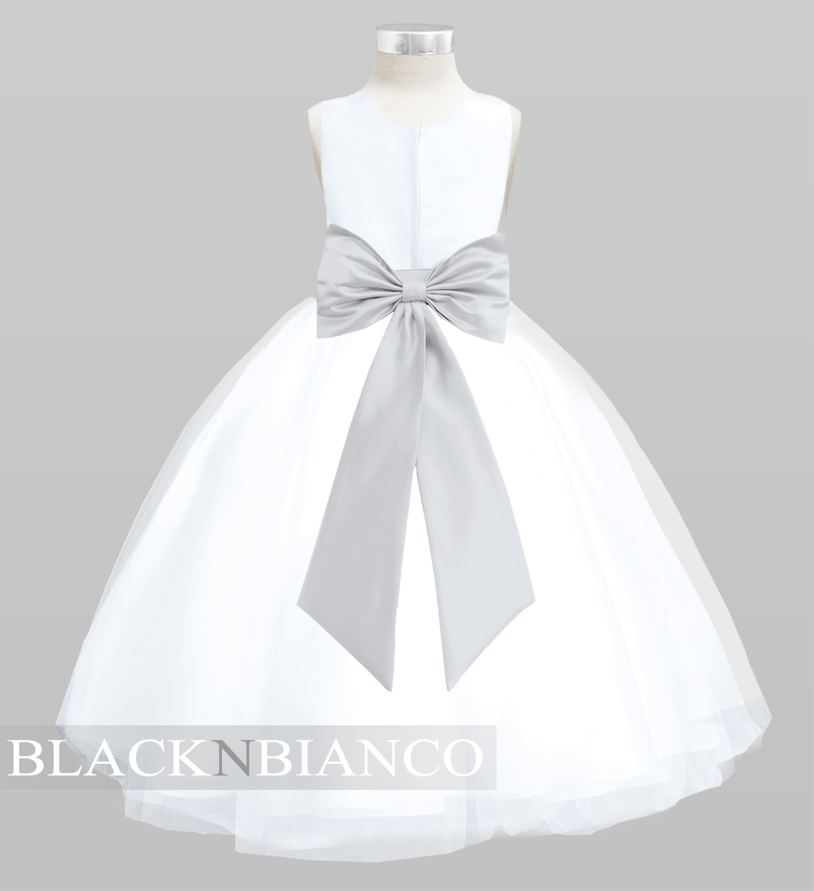 7e599c69879 White Tulle Flower Girl Dress with colored sash