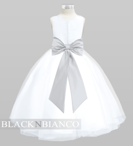 White Flower Girl Dress with a Silver Bow