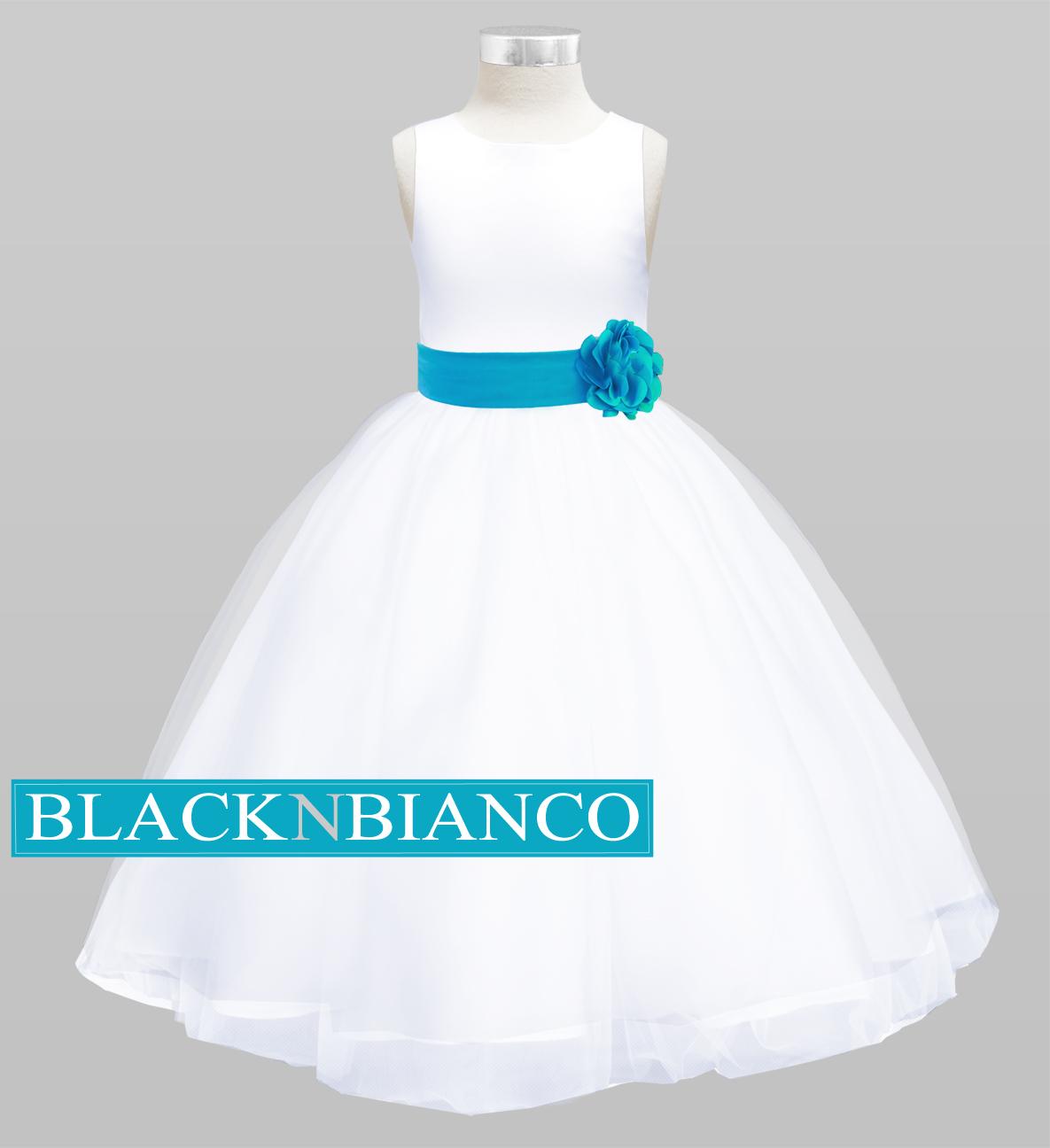e836ca51bde ... White Flower Girl Dress Turquoise Flower Girl Dress