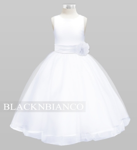 White and White Flower Girl Dress