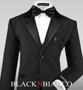 Boys Black Tuxedo Close Up