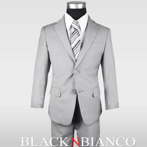 Boys Light Gray Slim Suit by Black N Bianco