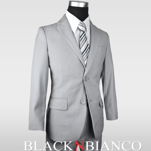 Boys Slim Suit in Gray