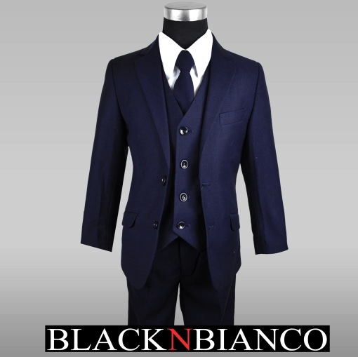 Boys Navy Slim Suit with Vest