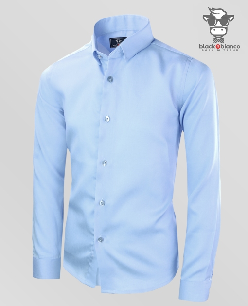 Boys Baby Blue Dress Shirt by Black n Bianco