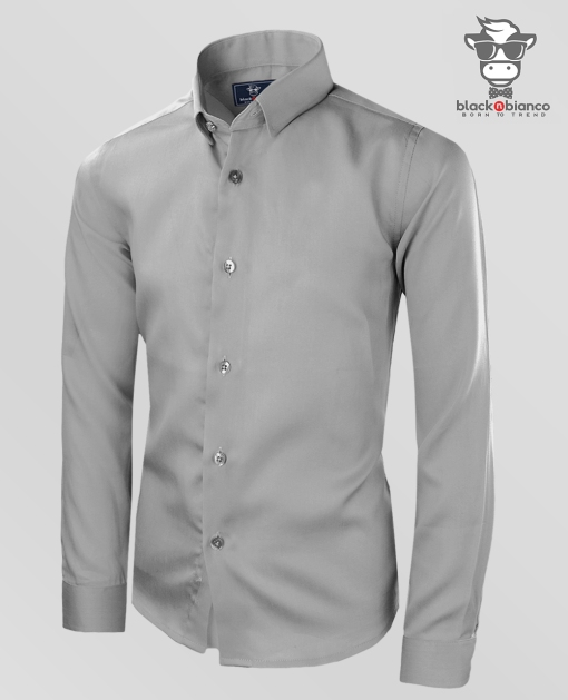 Boys Long Sleeve Dress Shirt in Gray