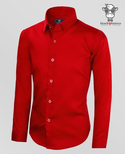 Black n Bianco Boys Red Dress Shirt