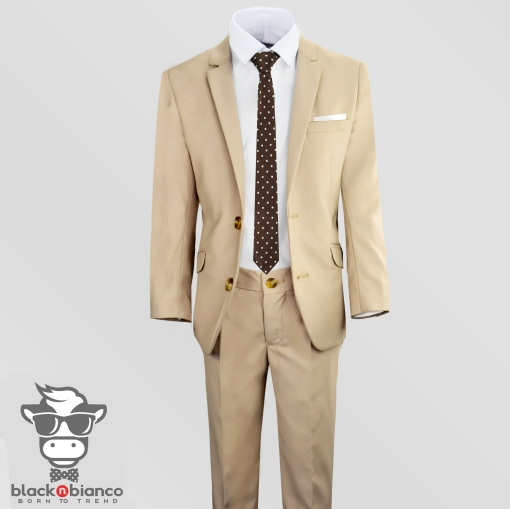 Boys Tan Suits, Boys Khaki Suits, Boys Slim Fit Suits,