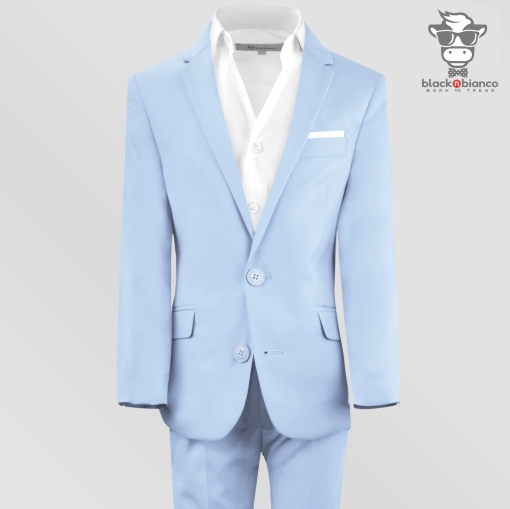 Boys Light Blue Slim Fit Suit